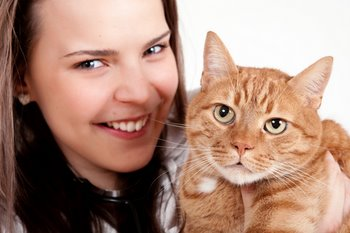 A cat with cat insurance and IBD is held by his owner.