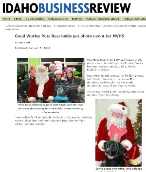 Idaho Business Review article featuring the Pets Best Santa Photo event to benefit the Meridian Valley Humane Society.