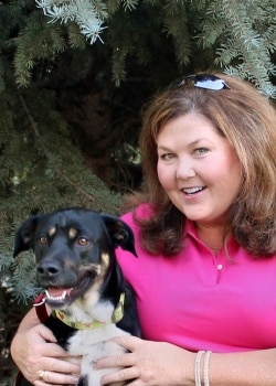 Lola a mixed breed dog with Pets Best Insurance with her human mom Kathy.