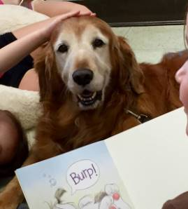 2016 Books & Barks contest finalist, Maggie, and the students she reads to at J.F. Burns Elementary School in Ohio.