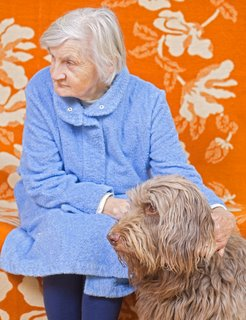 An old dog sits with an elderly woman.