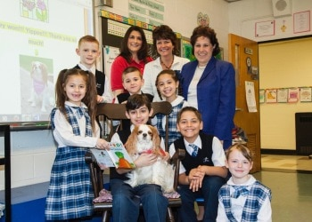 A therapy dog named Sydney, is the winner of the 2016 Pets Best annual Books & Barks Contest. The Contest recognizes and brings awareness to the inspirational work of therapy dogs in classrooms and libraries across the nation.,