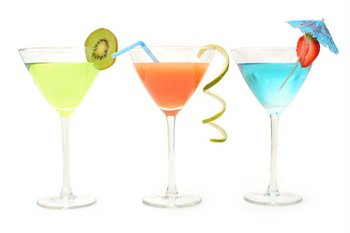 Three colorful dog martinis.