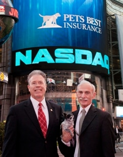 Pets Best Insurance's Greg McDonald, CEO, and Dr. Jack Stephens, President and Founder, with Torrey the chihuahua at the NASDAQ.