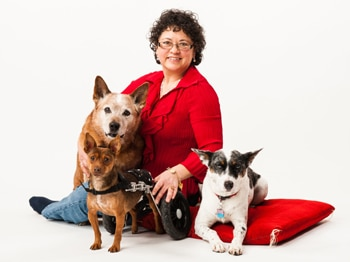 Pet insurance employee with her dogs.