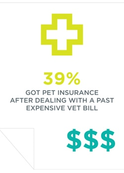 The majority of pet owners, over 39%, purchased pet insurance because they'd had an expensive veterinary bill in the past.